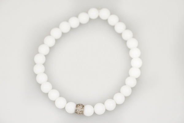 White Agate Beads with a Small Pave Diamond Band - Katie