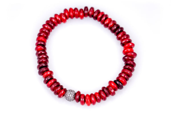 Red Dyed Horn Beads with a Small Pave Round Diamond Bead - Katie