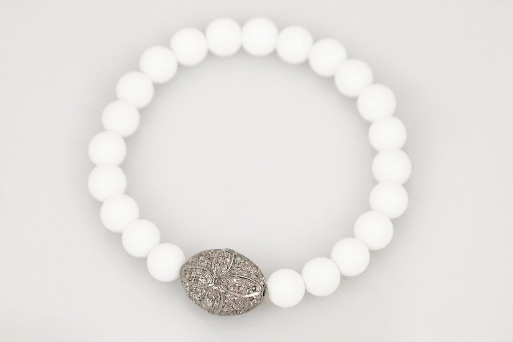 White Agate Beads with Detailed Pave Diamond Bead