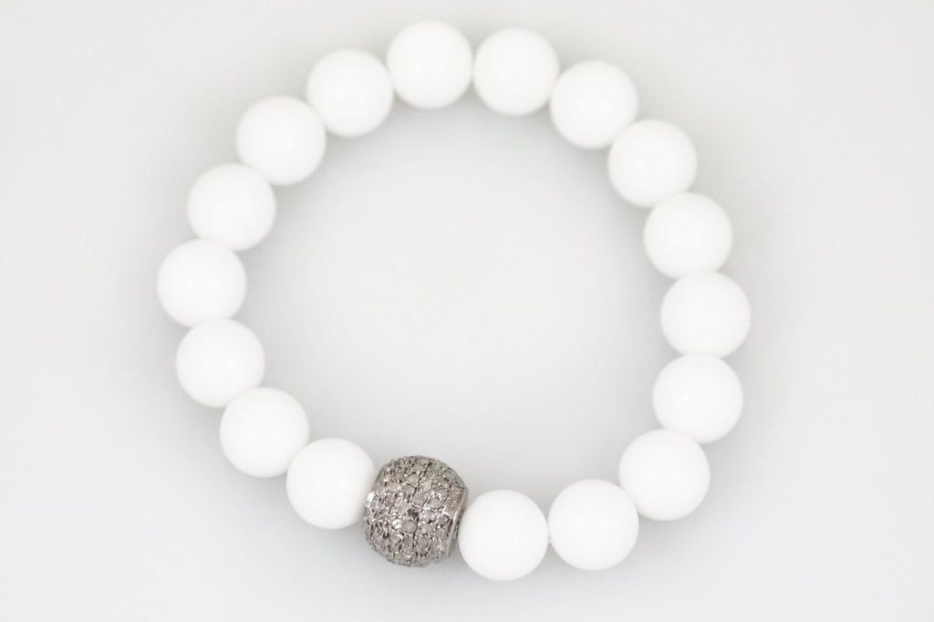 White Agate Beads with a Small Round Pave Diamond Bead