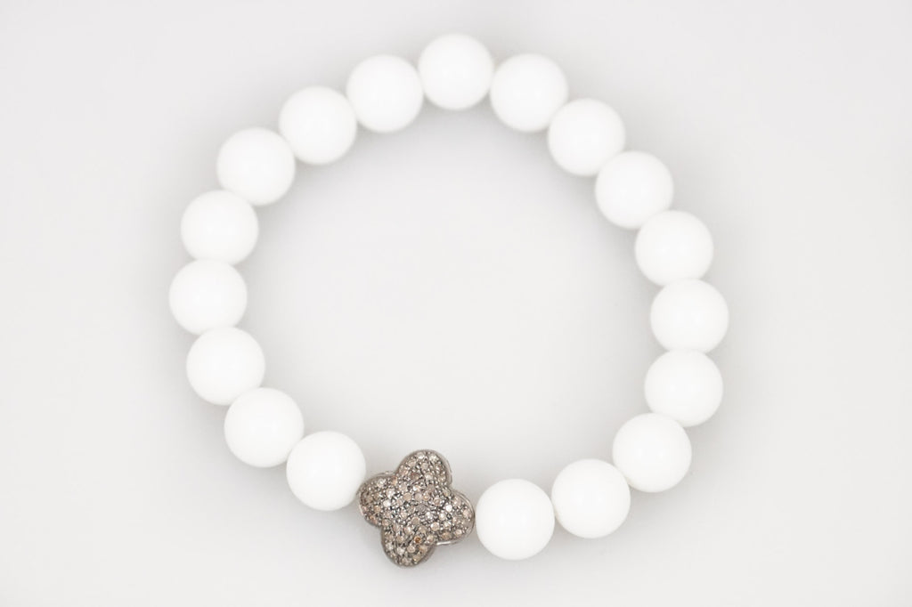 White Agate Beads with a Medium Pave Diamond Bead