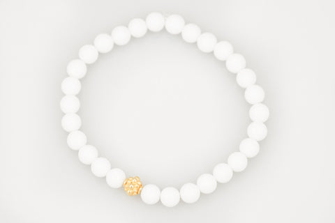 White Small Agate Beads with a Small Gold Bead - Katie