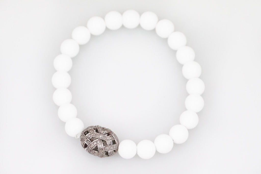 White Agate Beads with a Medium Oval Open Pave Diamond Bead