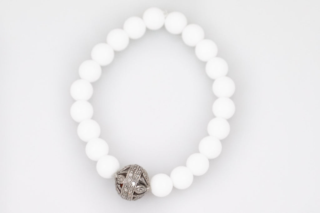 White Agate Beads with a Medium Round Open Pave Diamond Bead