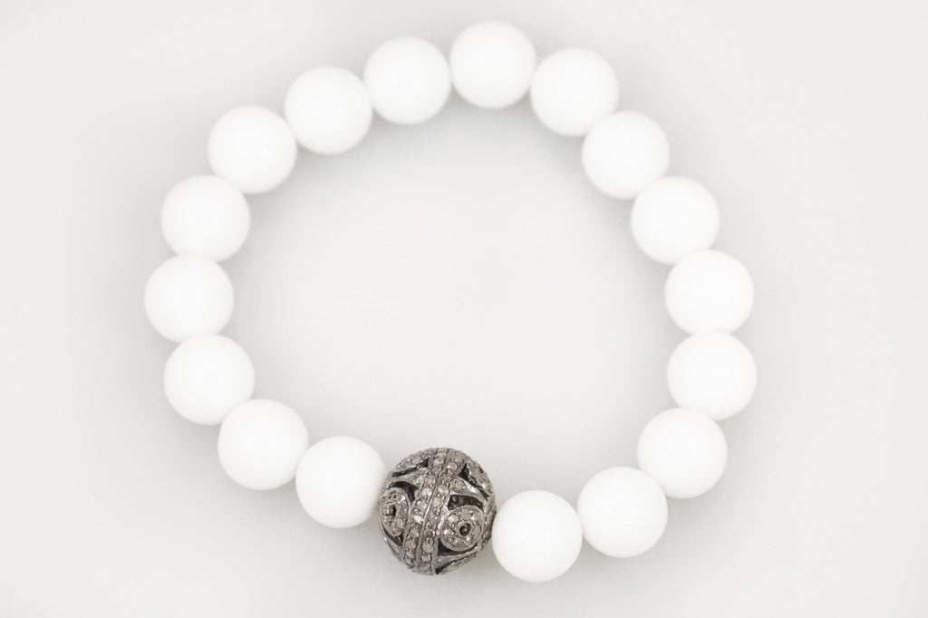 White Agate Beads with a Round Open Pave Diamond Bead