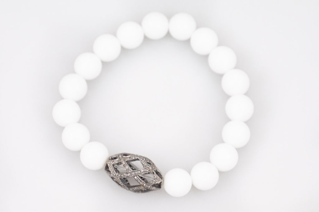 White Agate Beads with a Large Open Oval Diamond Bead