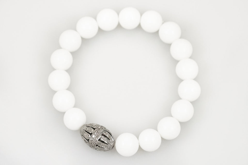 White Agate Beads with a Open Oval Diamond Bead