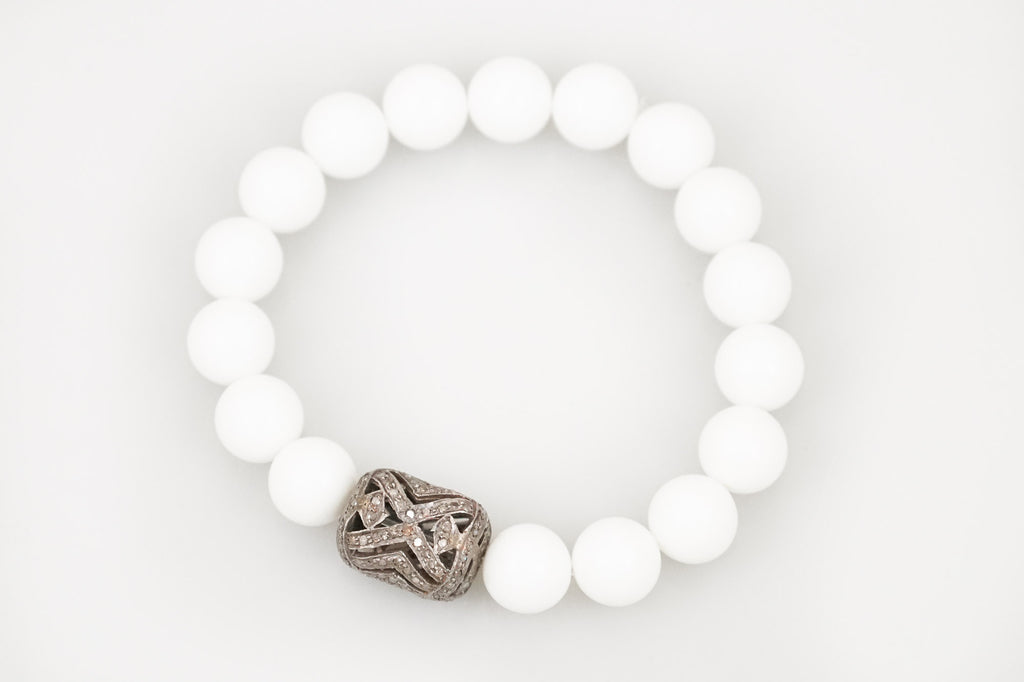 White Agate Beads with a Large Open Pave Diamond Bead