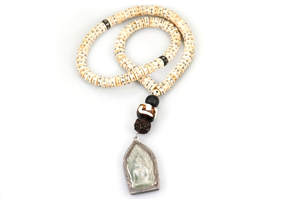 White Tibetan Bone Necklace & Wood/African Bone and Indian Seed with an Amulet