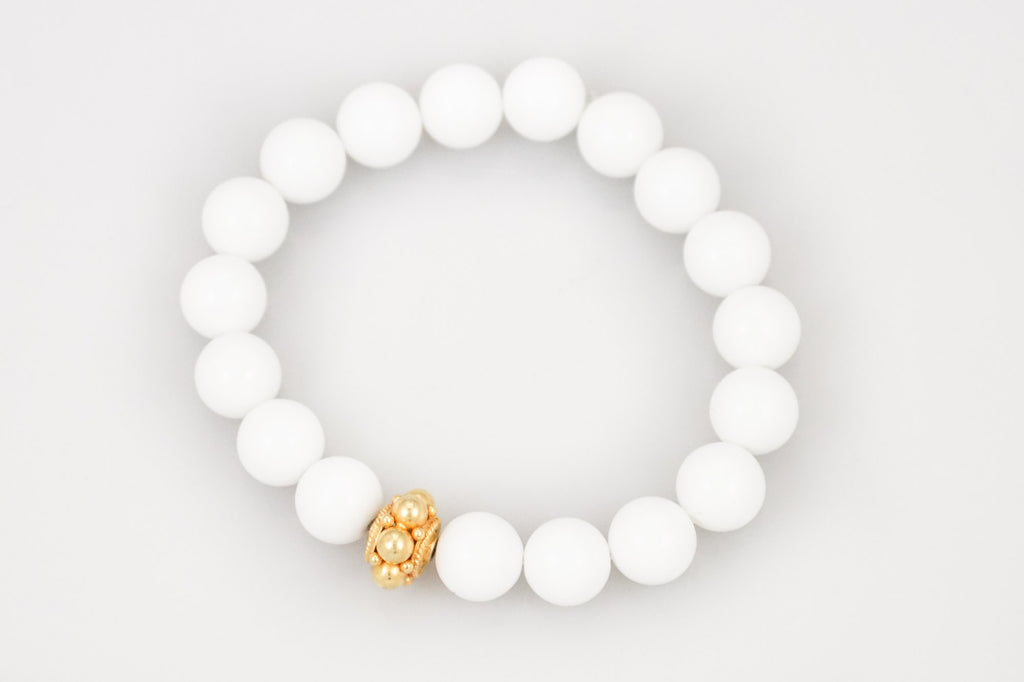 White Agate Beads with a Medium Gold Bead