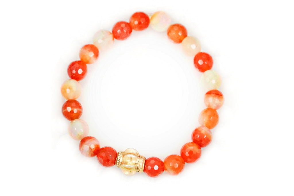 Carnelian Small Beads with a Medium Gold Bead