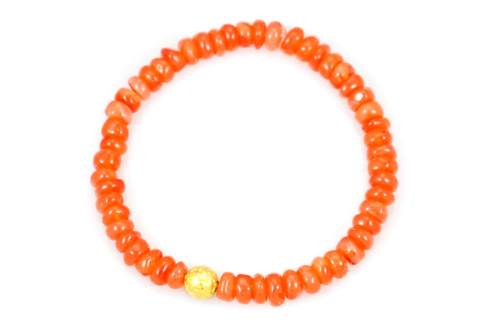 Carnelian Beads with a Small Gold Bead