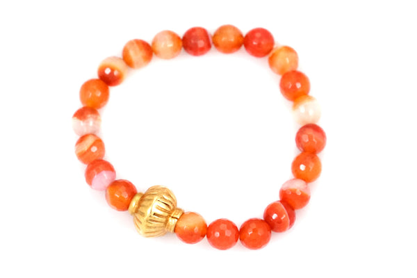 Carnelian Beads with a Medium Gold Bead