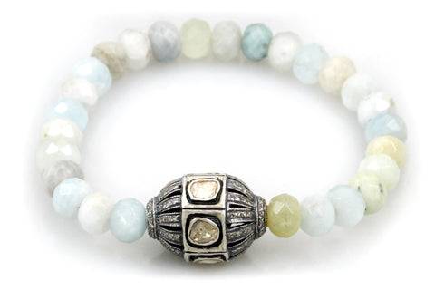 Aquamarine Bead with a Large Polki and Diamond Bead