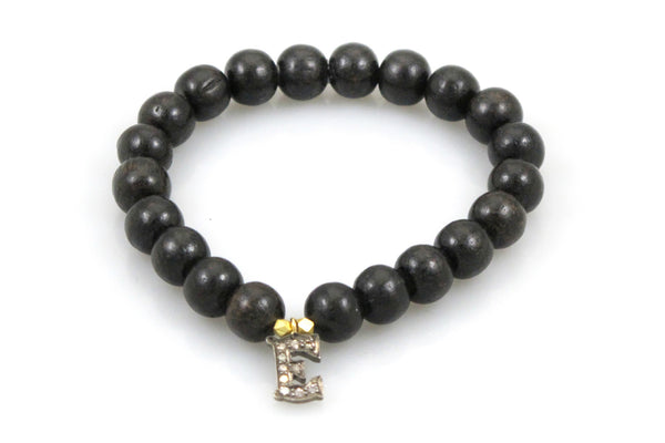 Black Wood Beads with Diamond Letter