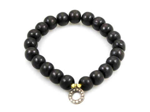 Black Wood Beads with an