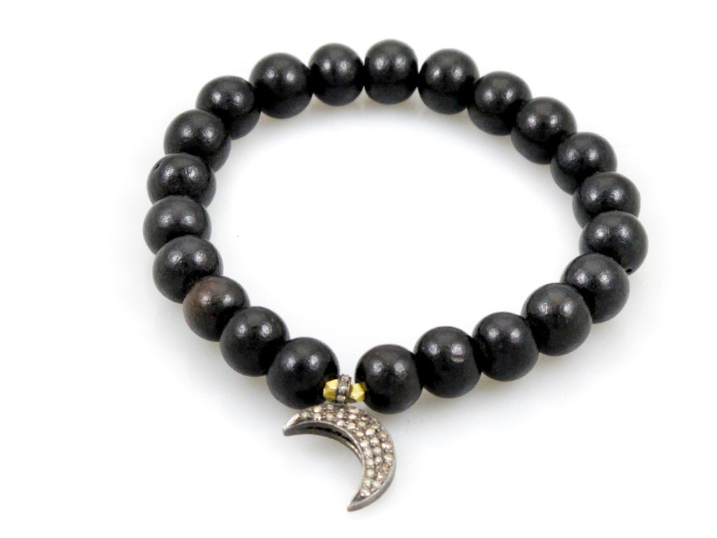 Black Wood Beads with a Double Sided Moon Charm