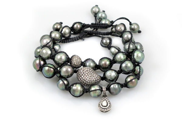 Tahitian Pearls strung together with Macrame Plus Pave & Polki Diamond Beads - 3 Bracelets