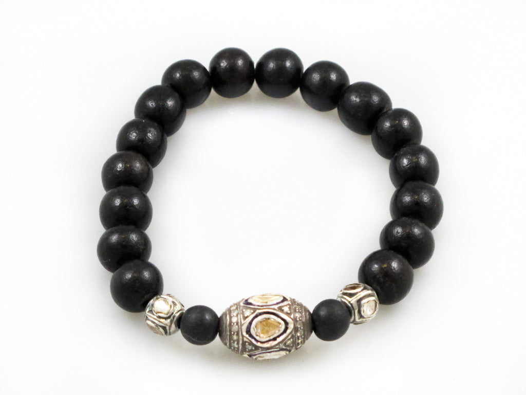 Black Wood Beads with a Large Polki Diamond Bead and 2 Small Polki Diamond Beads
