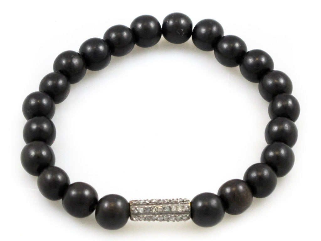 Black Wood Beads with a Pave Diamond Bead