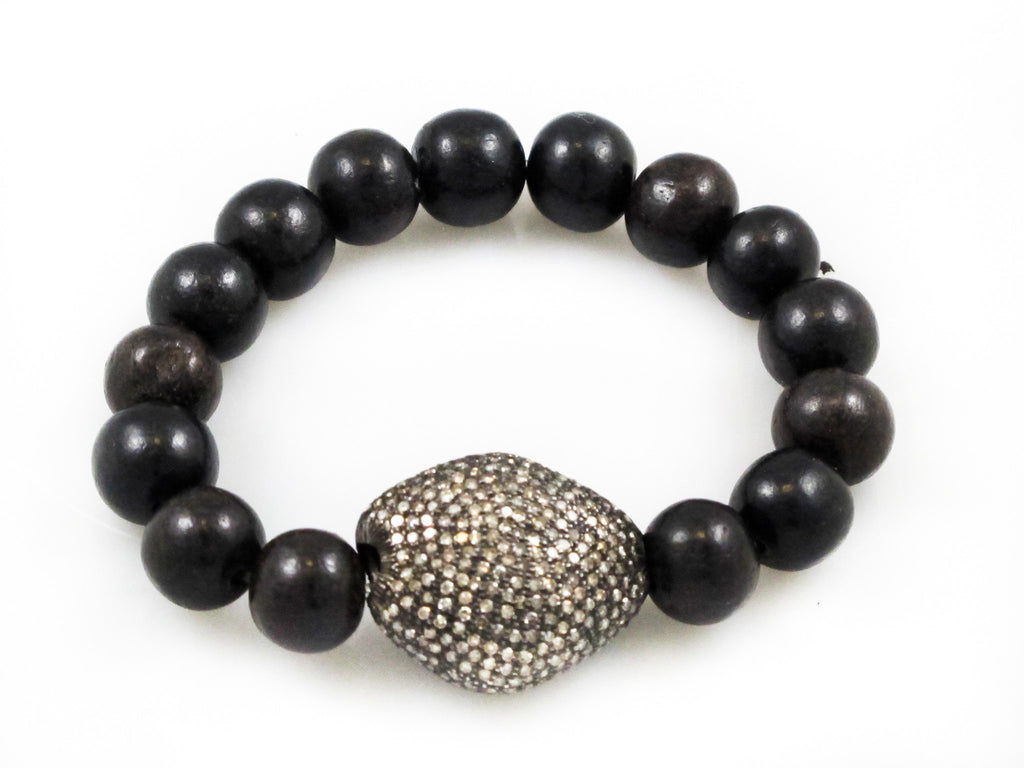 Black Wood Beads with a Extra Large Pave Diamond Bead