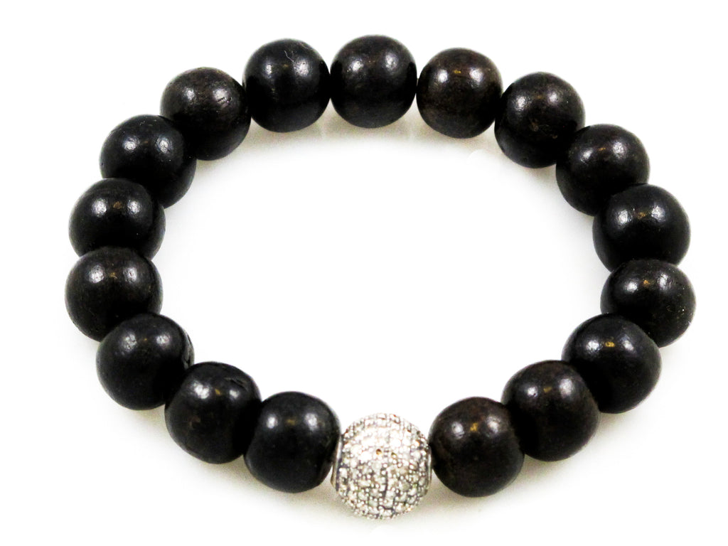 Black Wood Beads with a Medium Pave Diamond Bead
