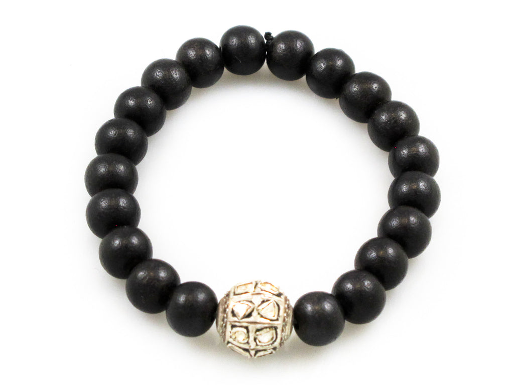 Black Wood Beads with a Polki Diamond Bead