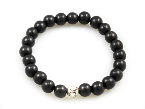 Black Wood Beads with a Small Polki Diamond - Katie