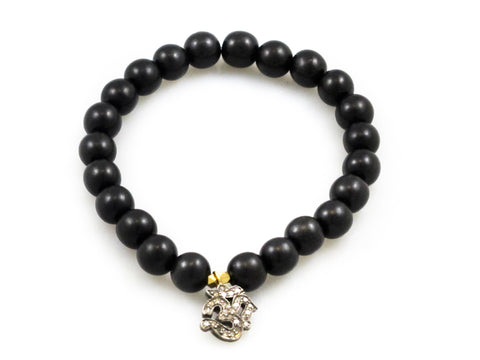 Black Wood Beads with Diamond OM Charm