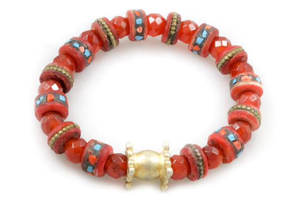 Hand Carved & Dyed Bone with Inlaid Coral & Turquoise Pieces and a Gold Bead