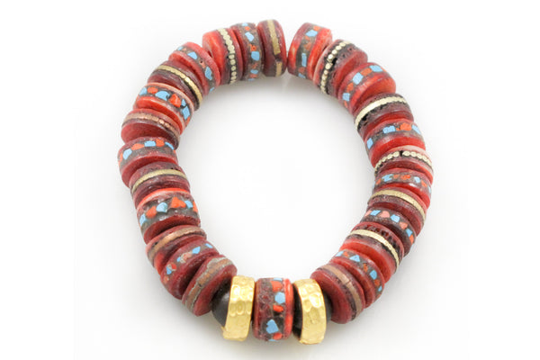 Hand Carved & Dyed Bone with Inlaid Coral & Turquoise Pieces and 2-24K Rings