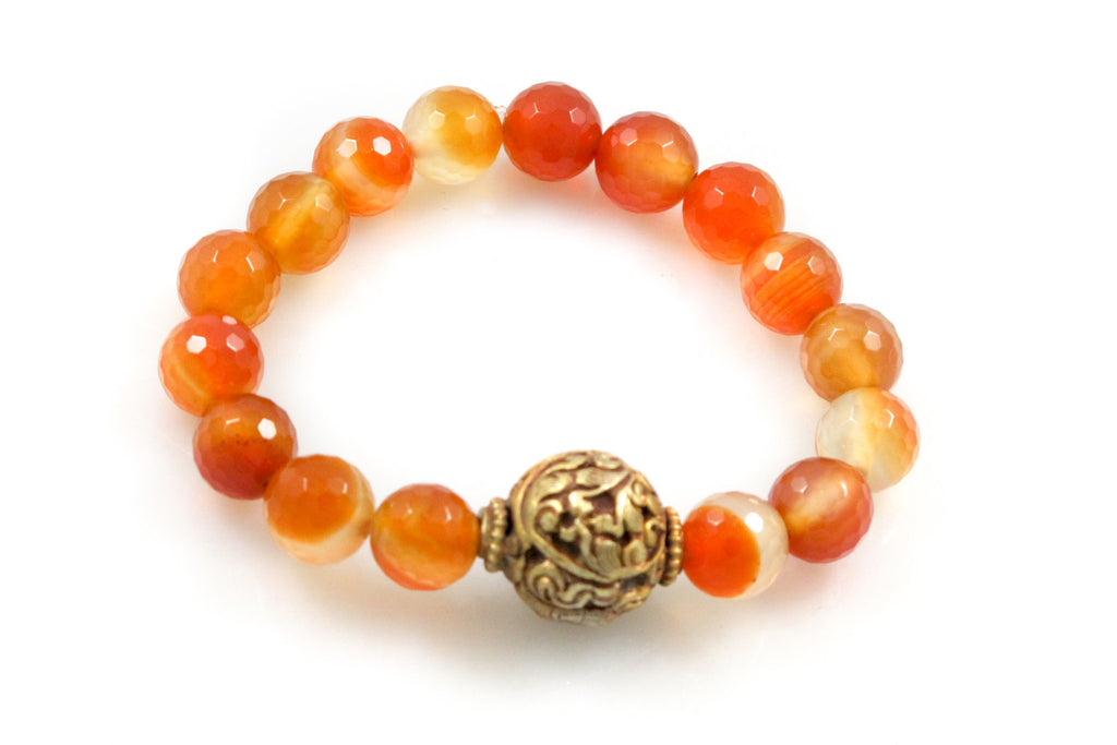 Carnelian Beads with a Large Antique Scroll Bead