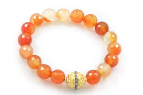 Carnelian Beads with a Medium Antique Scroll and Diamond Bead