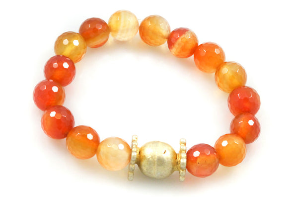 Carnelian Beads with a Large Antique Gold Bead