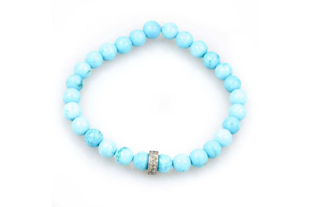 Small Turquoise Beads with a Pave Diamond Band