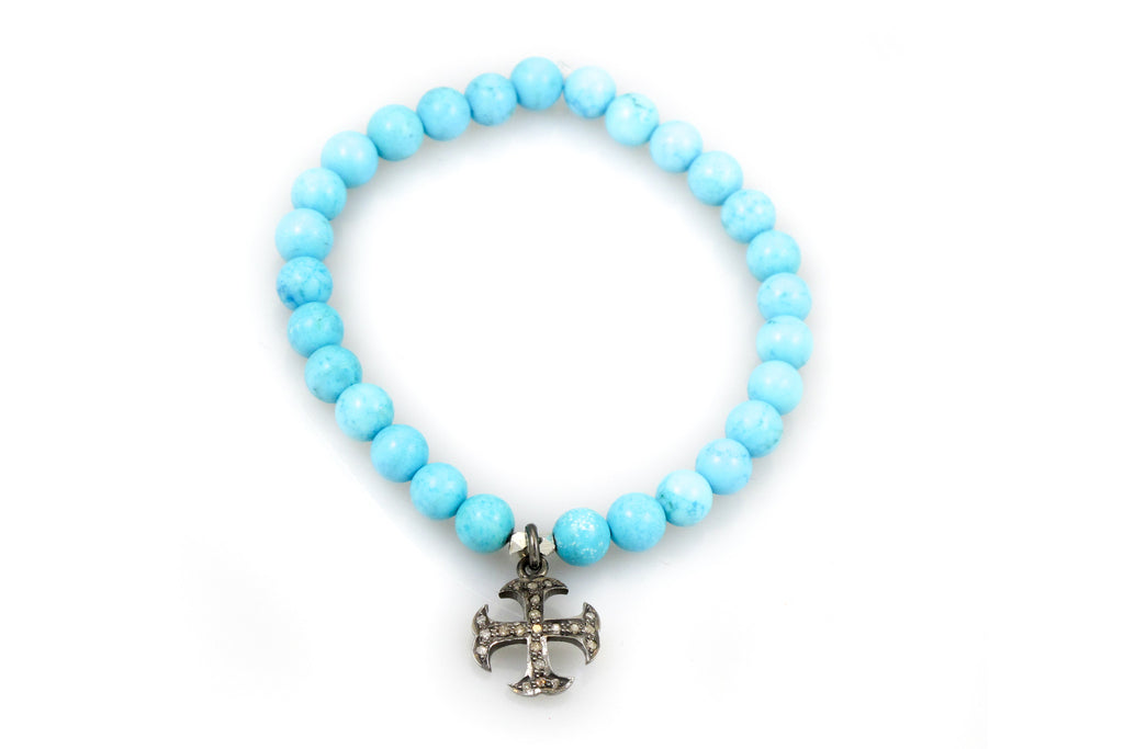 Small Turquoise Beads with a Four-Sided Cross Charm