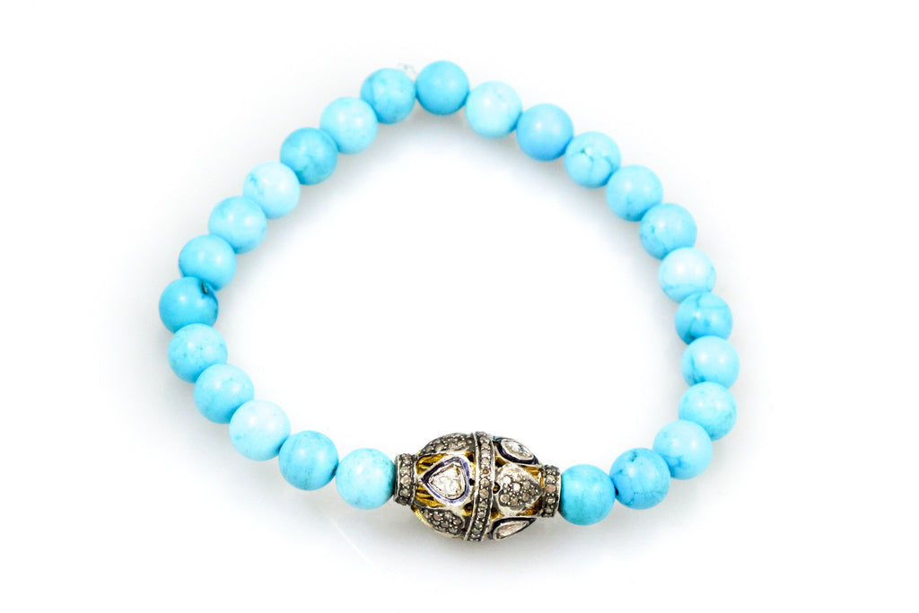 Small Turquoise Beads with a Medium Pave & Polki Diamond Bead