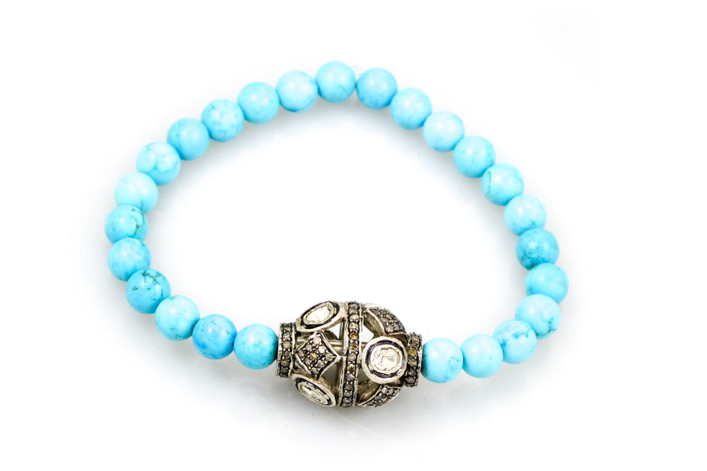 Small Turquoise Beads with a Pave & Polki Diamond Bead