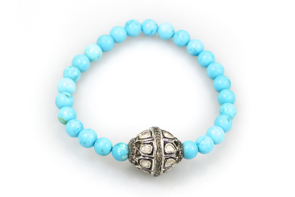 Small Turquoise Beads with a Large Pave & Polki Diamond Bead
