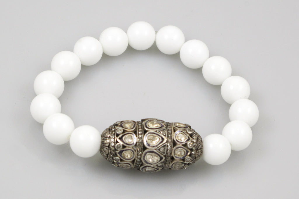White Agate Beads with an Extra Extra Large Polki and Pave Diamond Bead