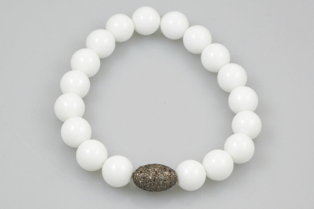 White Agate Beads with a Oval Pave Diamond Bead