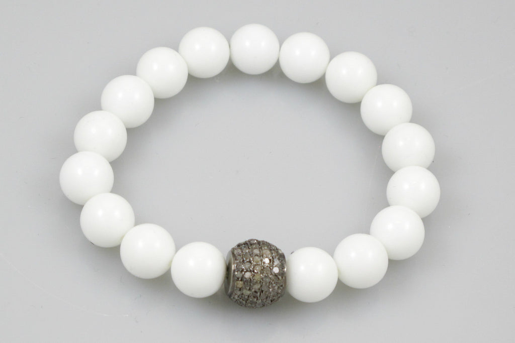 White Large Agate Beads with Large Pave Diamond Bead