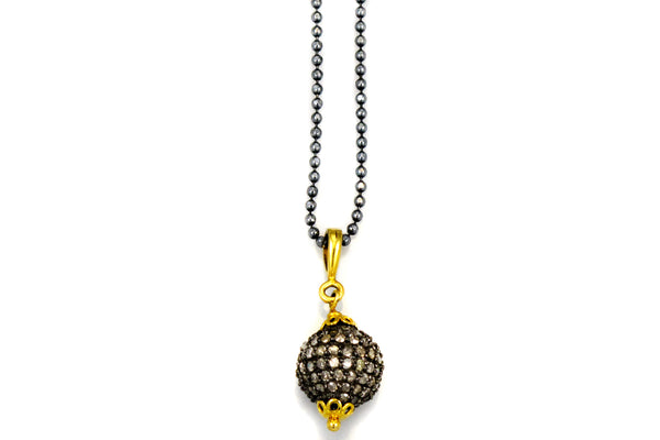 Necklace with Ball Charm and Pave Diamonds