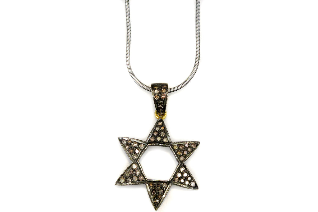Necklace with Six Sided Star in Pave Diamonds