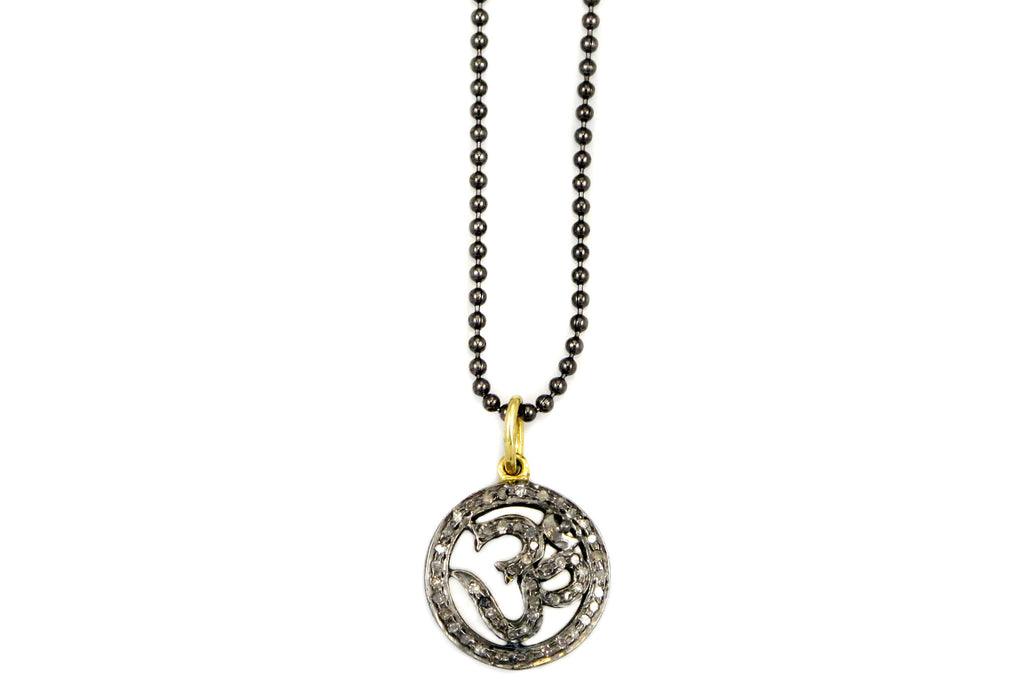 Necklace with Om Charm in Pave Diamonds