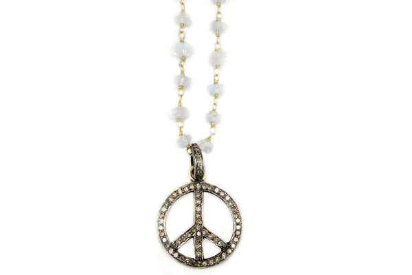 Necklace in Moonstone with Pave Diamond Peace Charm