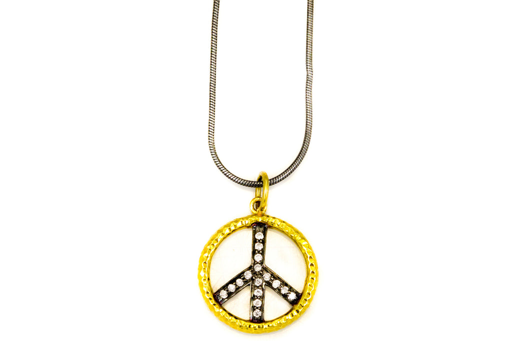 Necklace with Gold and Pave Diamond Peace Charm