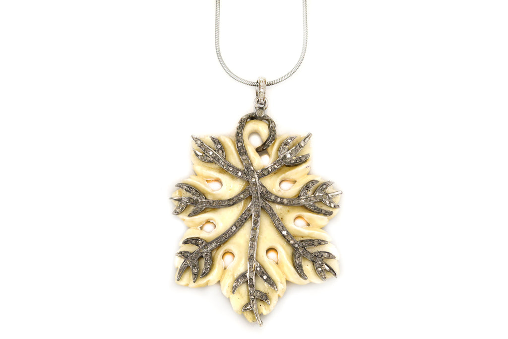 Necklace with Bone Leaf Charm with Pave Diamond Detail
