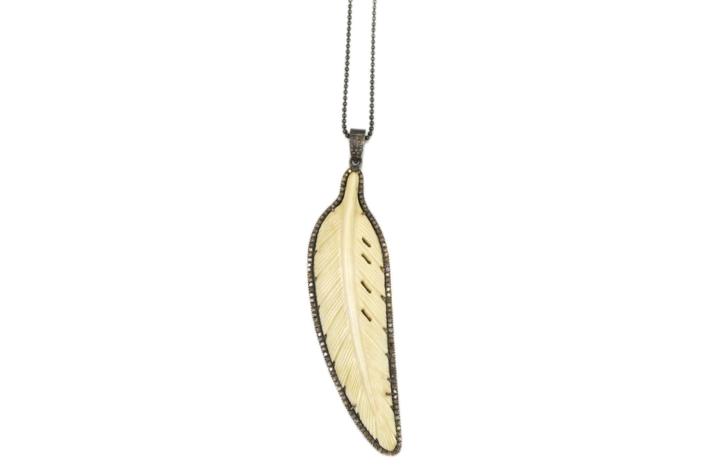 Necklace with Bone Feather Necklace Charm Outlined with Pave Diamonds