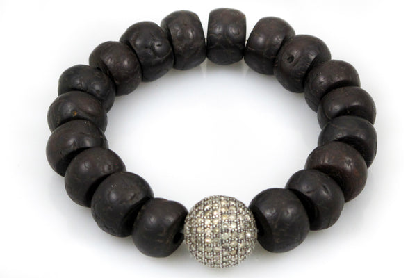 Bodhi Seeds with a Large Pave Diamond Bead